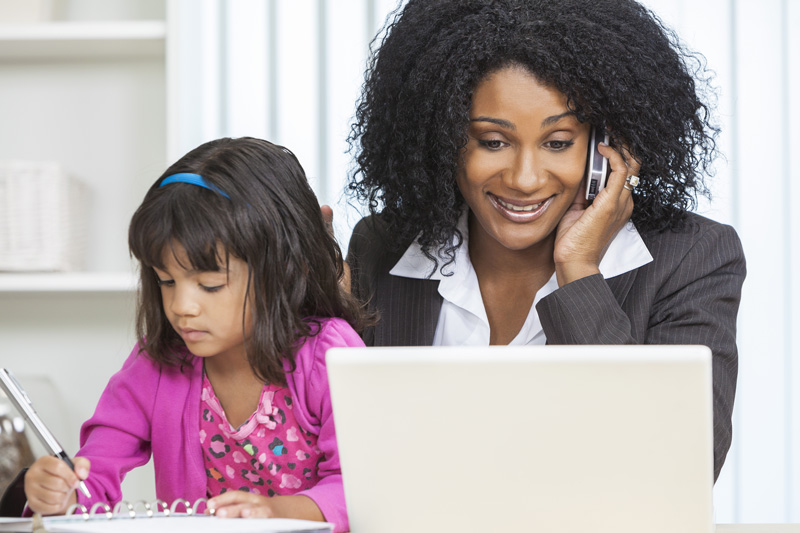 Work from Home Mom and Child